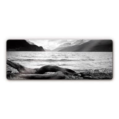 Glasbild Log and Lake - Panorama