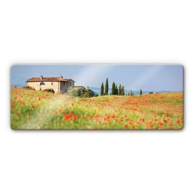 Tuscany 1 Glass art - panorama