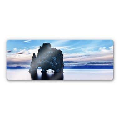 Rocks in the sea Glass art - panorama