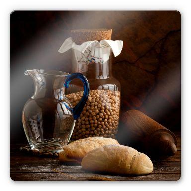 Glasschilderij Laercio - Italian Breads - vierkant