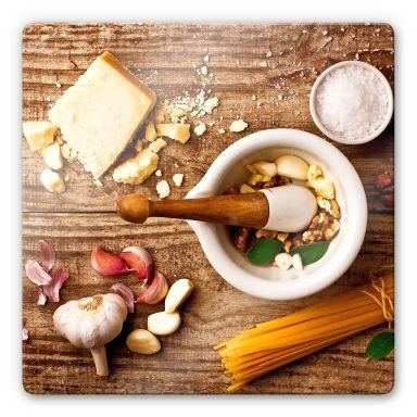 Glasbild Laercio - Pesto Rezept - quadratisch