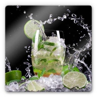 Glasbild Splashing Mojito - quadratisch