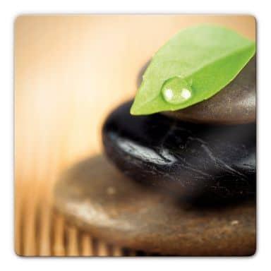 Glasbild Wellness Stone - quadratisch