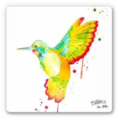 Buttafly - Hummingbird Glass art - square