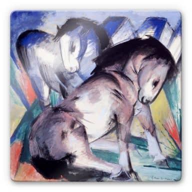 Glasbild Marc - Zwei Pferde - quadratisch