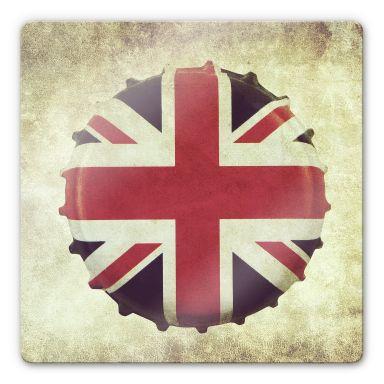 Glasbild Britischer Kronkorken - quadratisch