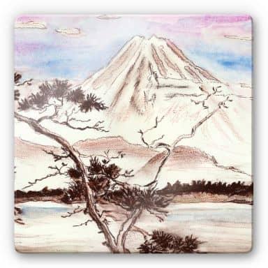 Glasbild Toetzke - Asian Landscape quadratisch