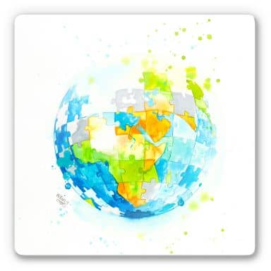 Glasbild Buttafly - Worldpuzzle