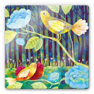 Glasbild Blanz - Vögel im Wald