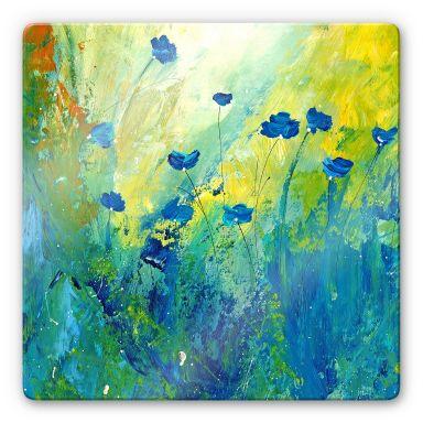 Glasbild Niksic - Der blaue Mohn