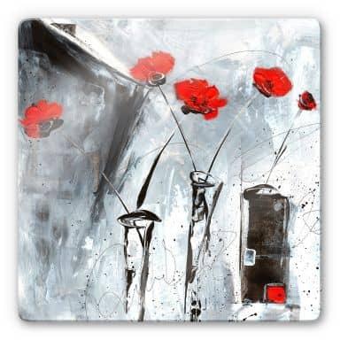 Glasbild Niksic - Roter Mohn 2