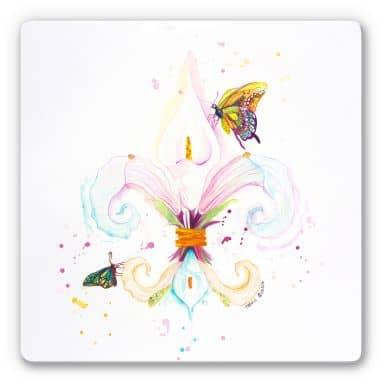Glasbild Buttafly - Fleur de Lil