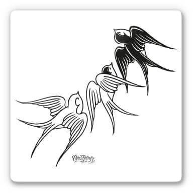 Tableau en verre - Miami Ink - Trio d'hirondelles