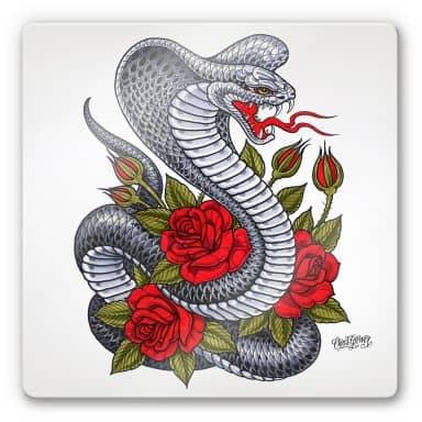 Tableau en verre - Miami Ink - Cobra avec roses