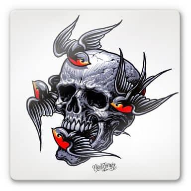 Tableau en verre - Miami Ink - Crâne et hirondelles