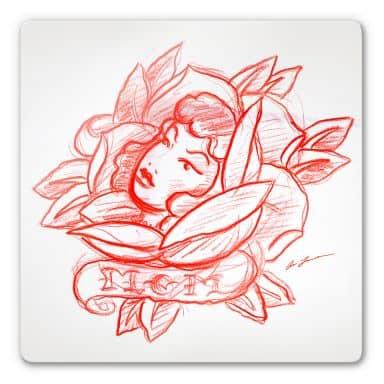 Tableau en verre - Miami Ink - Visage et fleurs