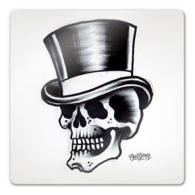 Tableau en verre - Miami Ink - Crâne et chapeau haut de forme