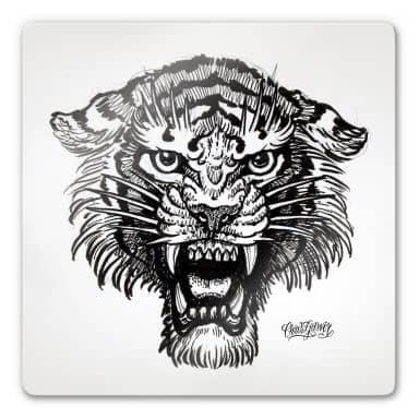 Tableau en verre - Miami Ink - Tigre en noir et blanc