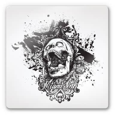 Tableau en verre - Miami Ink - Tête de mort criant