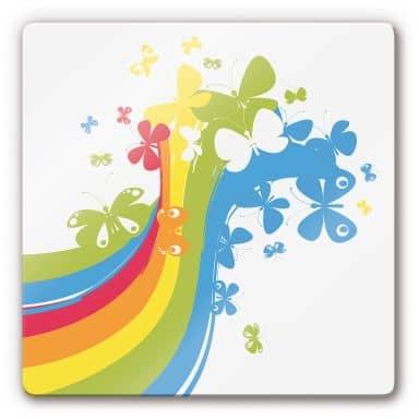Glasbild Butterfly Rainbow