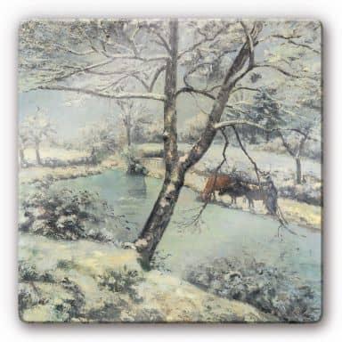 Glasschilderijen Pissarro - Winters Landschap