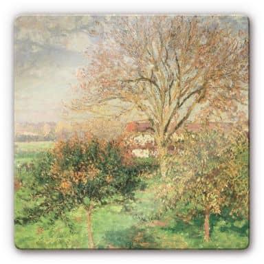 Glasschilderijen Camille Pissarro Herfst ochtend - vierkant