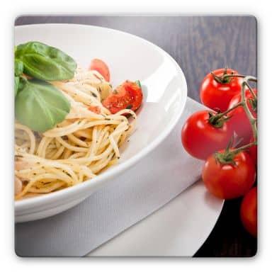 Glasbild Pasta Italiana - quadratisch