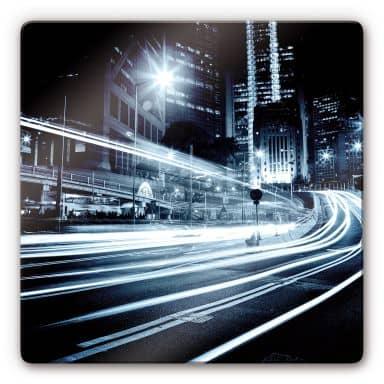 Glasbild Lichter der Stadt