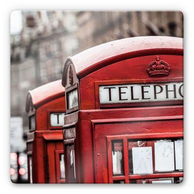 Tableau en verre - Cabine Téléphonique Anglaise - carré