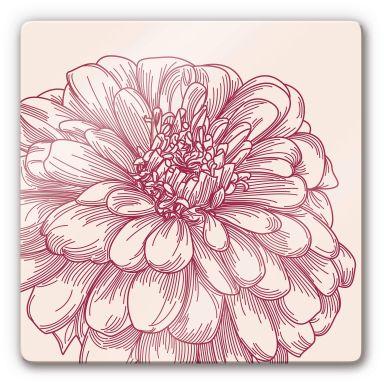 Glasbild Blüte Illustration - quadratisch
