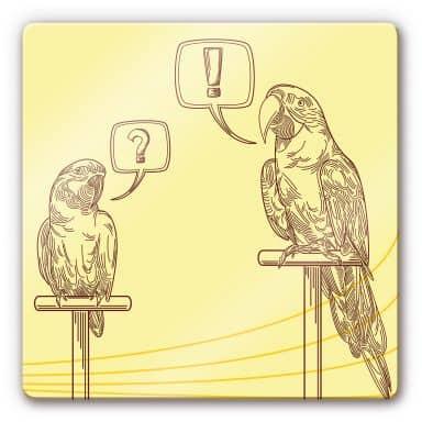 Glasbild Papageien Illustration - quadratisch