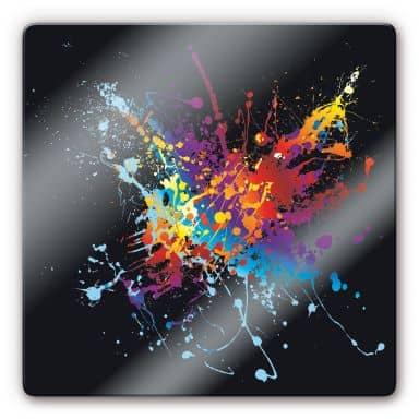 Glasbild Farbenexplosion - quadratisch
