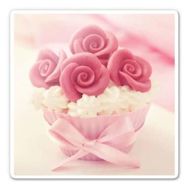 Glasbild Roses on Cupcake - quadratisch