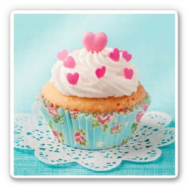 Cupcake with Hearts Glass art