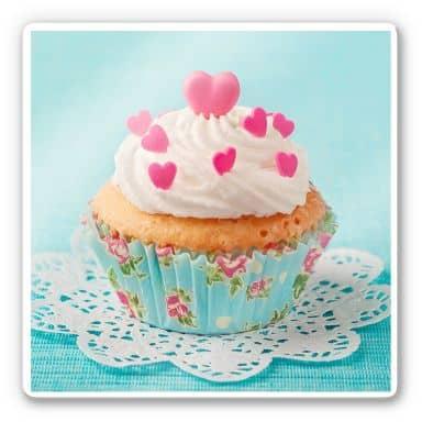 Glasbild Hearts on Cupcake - quadratisch