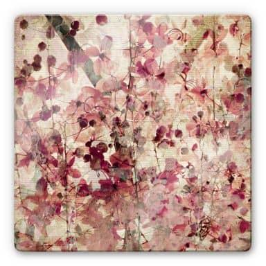 Tableau en verre - Fleurs vintage - carré