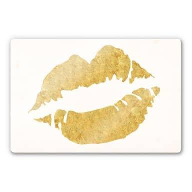 Glasbild Gold Lips