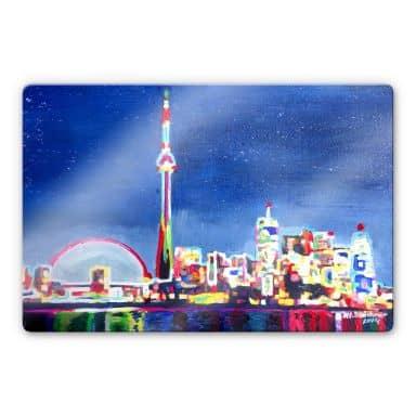 Glasbild Bleichner - Toronto im Neonschimmer