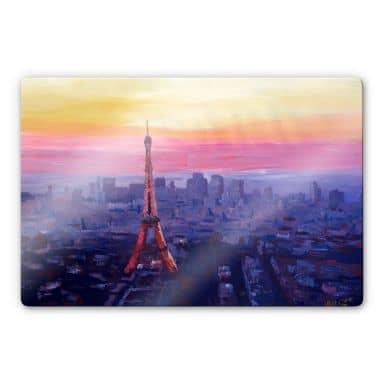 Glasbild Bleichner - Pariser Eiffelturm in der Abenddämmerung