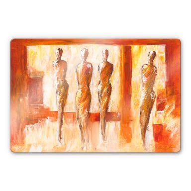 Glasbild Schüßler - Vier Figuren in Orange