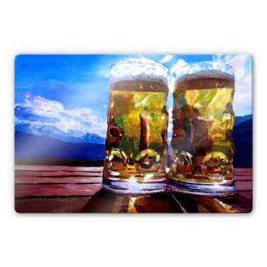 Glasbild Bleichner - Zwei Bier in den Bergen