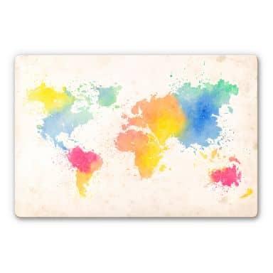 Glasschilderijen Wereldkaart - Aquarel