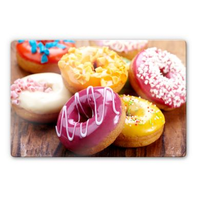 Glasbild Zuckersüße Donuts