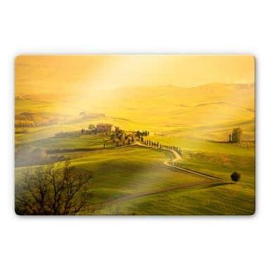 Glasbild Weitblick in der Toskana