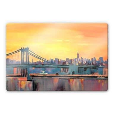 Glasbild Bleichner - Blue Manhattan Skyline with Bridge and Vanilla Sky