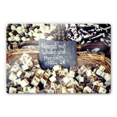 Glasbild Nougat mit Schokolade und Mandeln