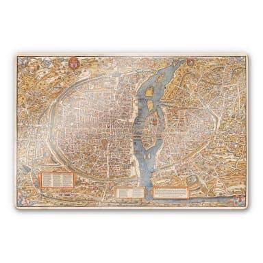 Glasbild Historische Karte von Paris