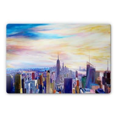 Glasbild Bleichner - Blick über New York City