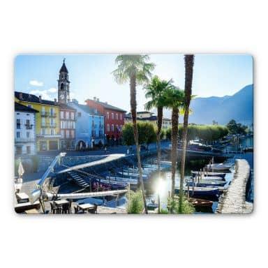 Glasbild Hafen am Lago Maggiore