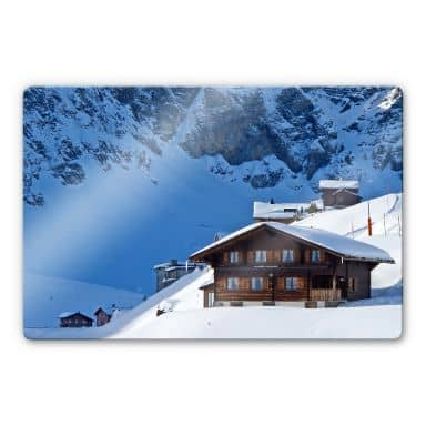 Glasbild Ferienhütte in den Schweizer Alpen